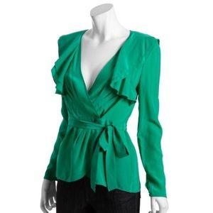 BCBGMaxAzria Emerald Green Wrap Ruffle Blouse Top